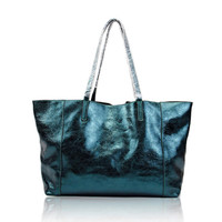 Distressed Dark Green Large Leather Tote. Metallic Handbag. Large Shopper Weekend Bag. MADE-TO-ORDER
