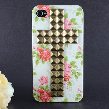Cross Antique Bronze stud Iphone case, Flower Rose Iphone 4 Case, Iphone 4S case, Hard Case Cover
