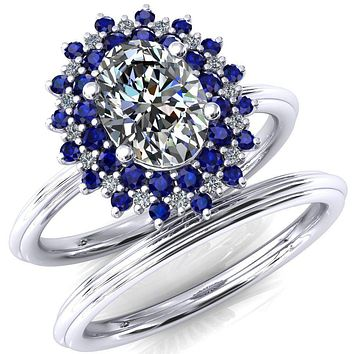 Eridanus Oval Moissanite Cluster Diamond and Blue Sapphire Halo Wedding Ring ver.3