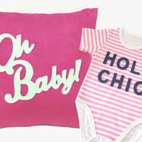 Pink Baby Girl Gift Set. Fuchsia White Decorative Nursery Pillow Cover. Pink Stripes Romper Onesuit Bodysuit. Baby Girl Shower Gift