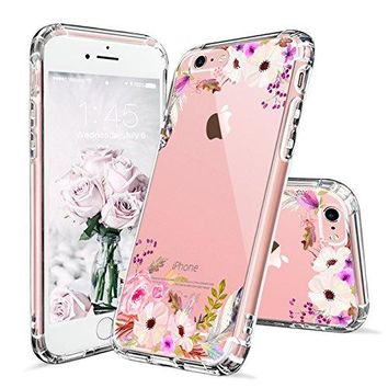 iPhone 6s Case, Cover iPhone 6s, MOSNOVO Colorful Floral Printed Flower Pattern Clear Design Transparent Plastic Hard Slim Case with TPU Bumper Protective Case Cover for Apple iPhone 6 6s (4.7 Inch)