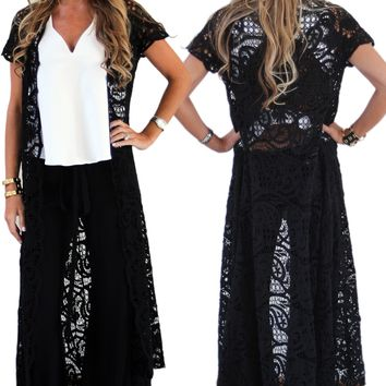 Alexis Annalise Button Down Crochet in Black Crochet