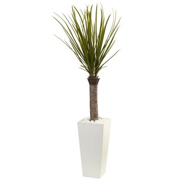 Artificial Tree -4 Foot Yucca Tree with White Tower Planter