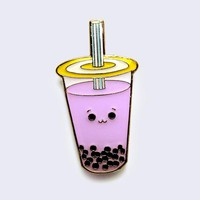 Giant Robot - Boba Bubble Tea Enamel Pin (Purple Taro)