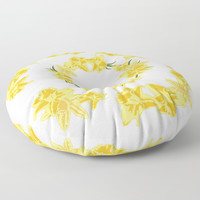 Daffodils Floor Pillow by vanessagf