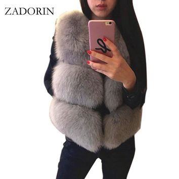 S-3XL New 2017 Autumn Winter Thick Warm Faux Fox Fur Vest Women High Quality Fashion V-Neck Short Fur Coat Female Fur Waistcoat