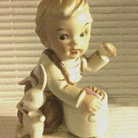 Vintage Figurine Toddler Boy Sneaking a Cookie Kneeling In Overalls w/bunny