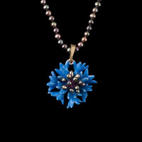 Blue Cornflower Necklace - Pearls / Michael Michaud / Silver Seasons Jewelry