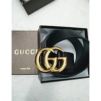 GUCCI Trending Woman Men Personality Metal Smooth Buckle Leather Belt I