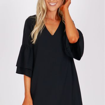 Ruffle Sleeve Shift Dress Black