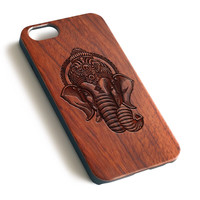 Black Ganesha Head Tattoo Natural wood precise laser engraved iPhone case WA111