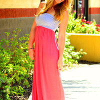 ON THE RUN MAXI DRESS IN GREY/CORAL