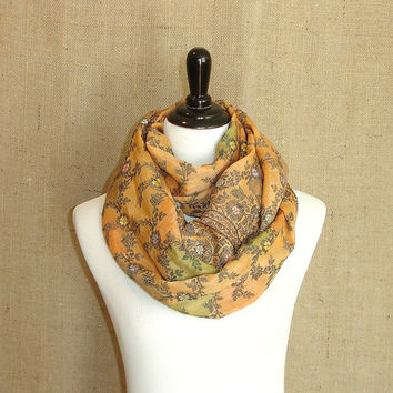 Infinity Scarf: Upcycled Circle Scarf, Indian Silk Saree Floral Sari Scarf, Eternity Scarf, Chunky Cowl, Golden Yellow Loop Scarf