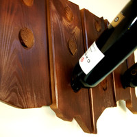 USA Shape 12 Bottle Wall Mounted Wood Wine Rack