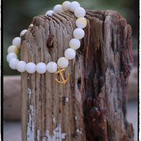 Golden Tridacna Giant Clam Shell and 22K Matte Gold Vermeil Anchor Charm Stretch Bracelet, Minimalist BohoChic, Sea Beach Themed Surf Chic