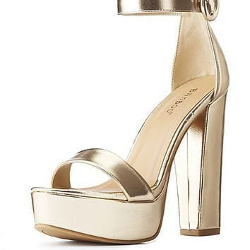 Bamboo Metallic Two-Piece Platform Sandals