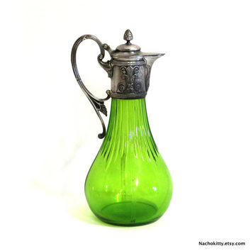 1800s Syrup Bottle, Green Glass & Metal Pitcher