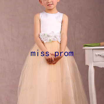 Jewel satin and tulle flower girl dress with flower sash