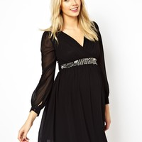 Little Mistress Maternity Exclusive Long Sleeve Embellished Waist Skater Dress