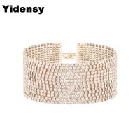 Yidensy Fashion Crystal Wide Bangle Bracelets Gold Silver Color Multilayer Rhinestone Cuff Bracelet for Women Statement Jewelry