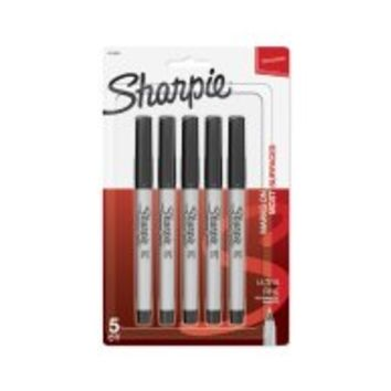 Sharpie Permanent Markers, Fine Point, Black, 5 Count - Walmart.com