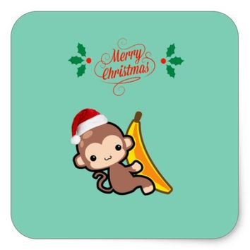 Happy Christmas from Monkey! Square Sticker