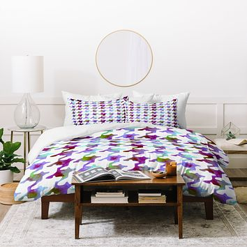 Betsy Olmsted Watercolor Houndstooth in Amethyst Tundra Duvet Cover