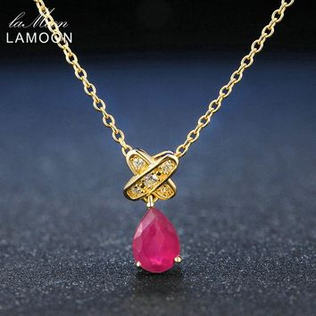 Lamoon Tears of lovers Natural Water Drop Ruby 925 Sterling Silver Chain Pendant Necklace Jewelry 14K Gold Plated S925 LMNI034