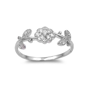 925 Sterling Silver CZ Flower Ring 7MM