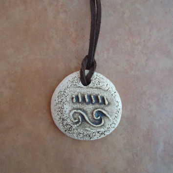 Handmade ceramic pendant. Ethnic pendant. Pottery necklace. Amulet. FREE SHIPPING!