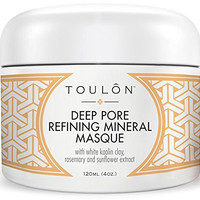 Clay Face Mask with White Kaolin Mineral Clay. Reduces Wrinkles, Rids Blackheads, Acne & Dirt & Improves Complexion. Free Gift/No Risk