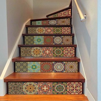 Eye Catching Moroccon Style Self-Adhesive 6 Piece Stairs Decals Decor 18x100CM