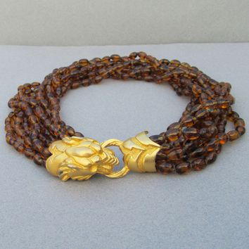 Amazing!  1980's Vintage Signed Donald Stannard 8 Strand Faux Amber Glass Bead LION HEAD Clasp Torsade Necklace