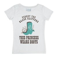 This Princess Wears Boots (Brown)-Female White T-Shirt
