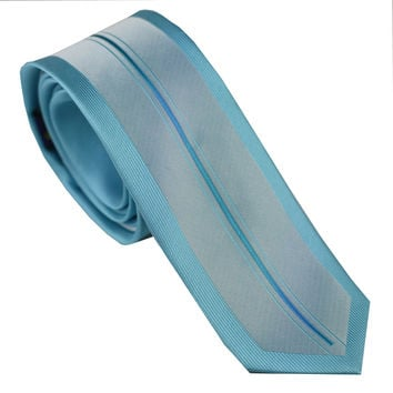 LAMMULIN Ties Mens SKINNY Tie New Design Mint Green Border Silver Turquoise Vertical Striped Microfiber Necktie Fashion SLIM Tie