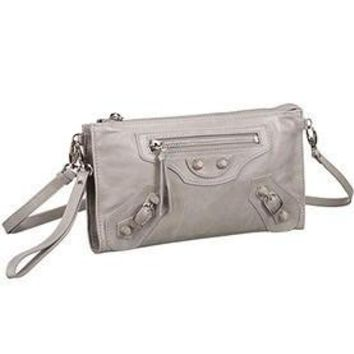 balenciaga clutch argent silver with silver hardware 607834 2