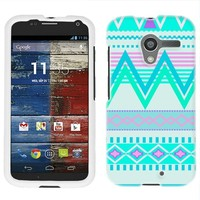 Moto X Aztec Andes Tribal White and Teal Pattern Case