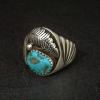 OLD PAWN Vintage Native American NAVAJO Ring Turquoise Solid Sterling Silver Band Size 8.5 Signed c.1930s