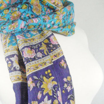 Blue Purple Summer Scarf Silk Scarf Sari Scarf Indian Scarf Silk Sarong