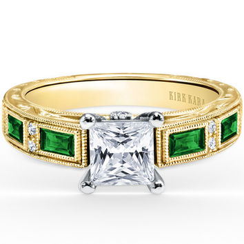 "Kirk Kara ""Charlotte"" Green Tsavorite Diamond Engagement Ring"