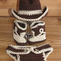 Newborn, 0-3 Months Baby Crochet Cowboy Hat & Diaper Cover Boots Photo Prop Set Outfit