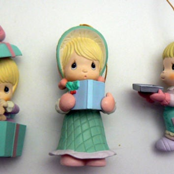 Precious Moments Christmas Ornament Lot 3 Girl Ornaments Caroler Dog Baker Love Pastel Pink Blue Mint Green Home for the Holidays Collection