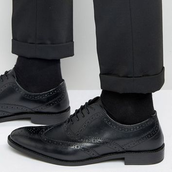 ASOS Oxford Brogue Shoes in Black Leather - Wide Fit Available at asos.com