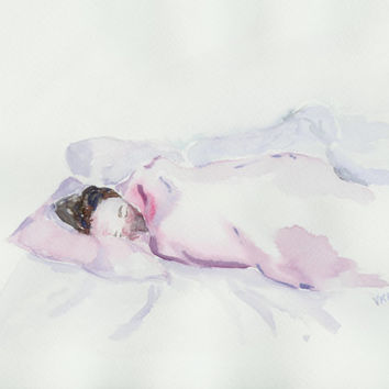 Sleep portrait. An original watercolor painting of a sleeping girl. Art from Finland. Watercolor portrait. Unique Finnish art.