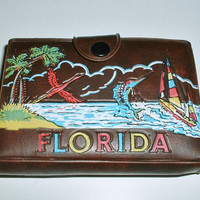 Playing Cards Florida Souvenir Case Holder with Score Pad Pencil 1960's Hong Kong Vintage