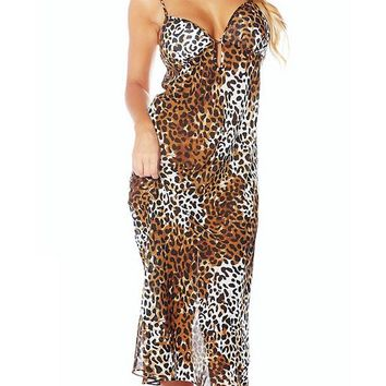 Sheer Chiffon Leopard Print Nightgown (3X only)