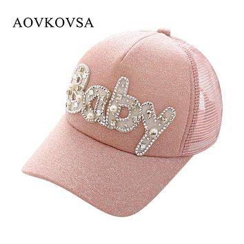 AOVKOVSA 2017 New Cotton Lace Letter BABY Baseball Cap Women Sequins Pearl Adjustable Snapback Hats for Women