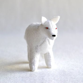 ghost direwolf  white wolf soft sculpture  game by MountRoyalMint
