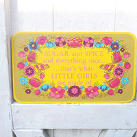 1970s Sugar and Spice Vintage Girl's Room Sign Yellow and Pink floral Decor with Bird Yorkraft Wall Hanging