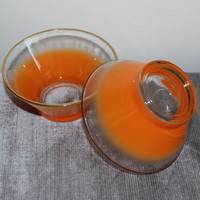 Set of two small orange Blendo bowls with gold trim, decorative bowl, dip bowl, serving bowl, orange decor, retro kitchen